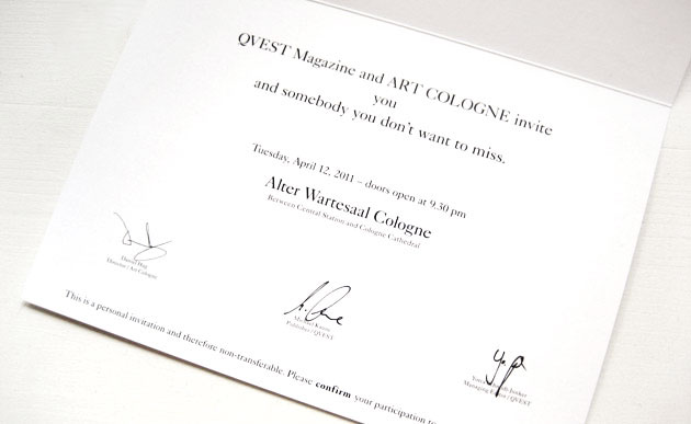 Invitation for QVEST & Art Cologne Opening Party (2)