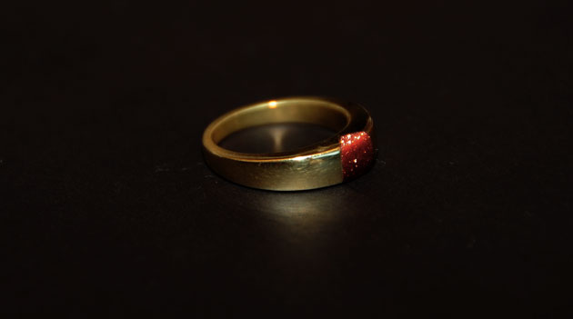 Ring with goldstone by Sharokina (1)