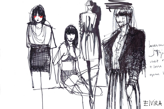 Drawn clothes and wearable drawings by Elvira 't Hart